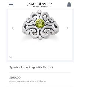 James Avery Spanish Lace ring with Peridot